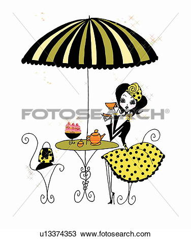 Stock Illustration of Family having a drink at outdoor cafe.