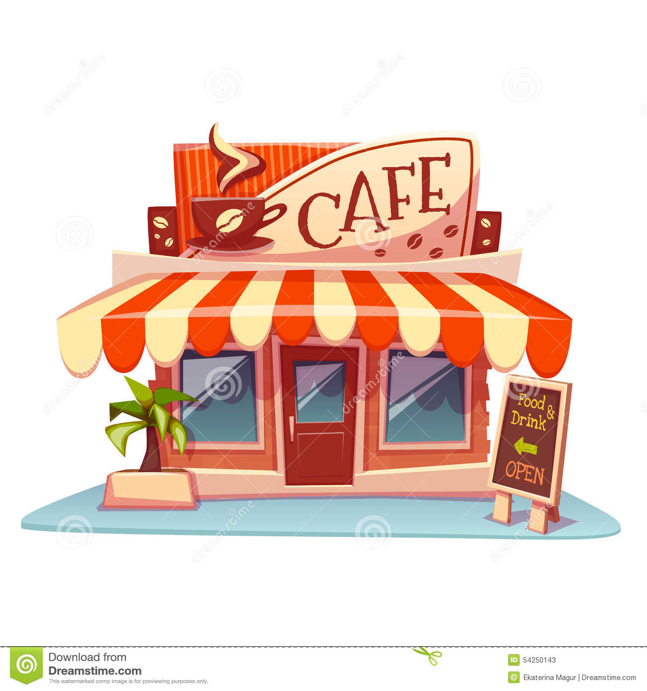 Vector Illustration Of Ice Cream Shop Building Stock Vector.