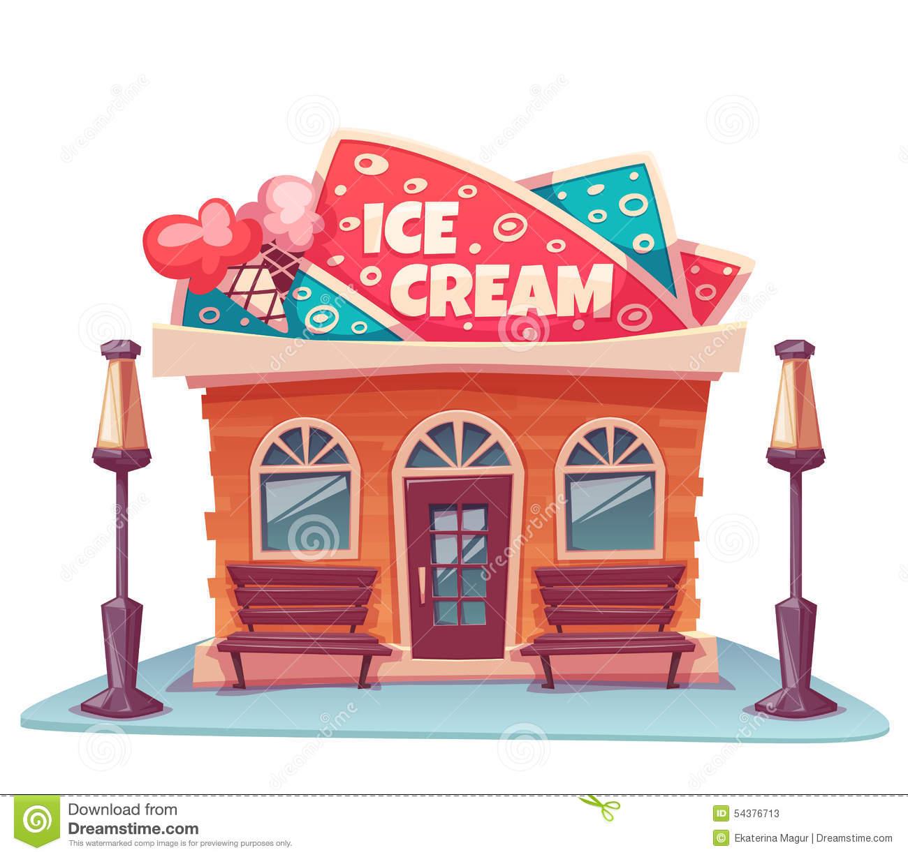 Vector Illustration Of Ice Cream Shop Building Stock Vector.