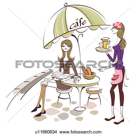 Drawings of Two women sitting at a cafe table u13292694.