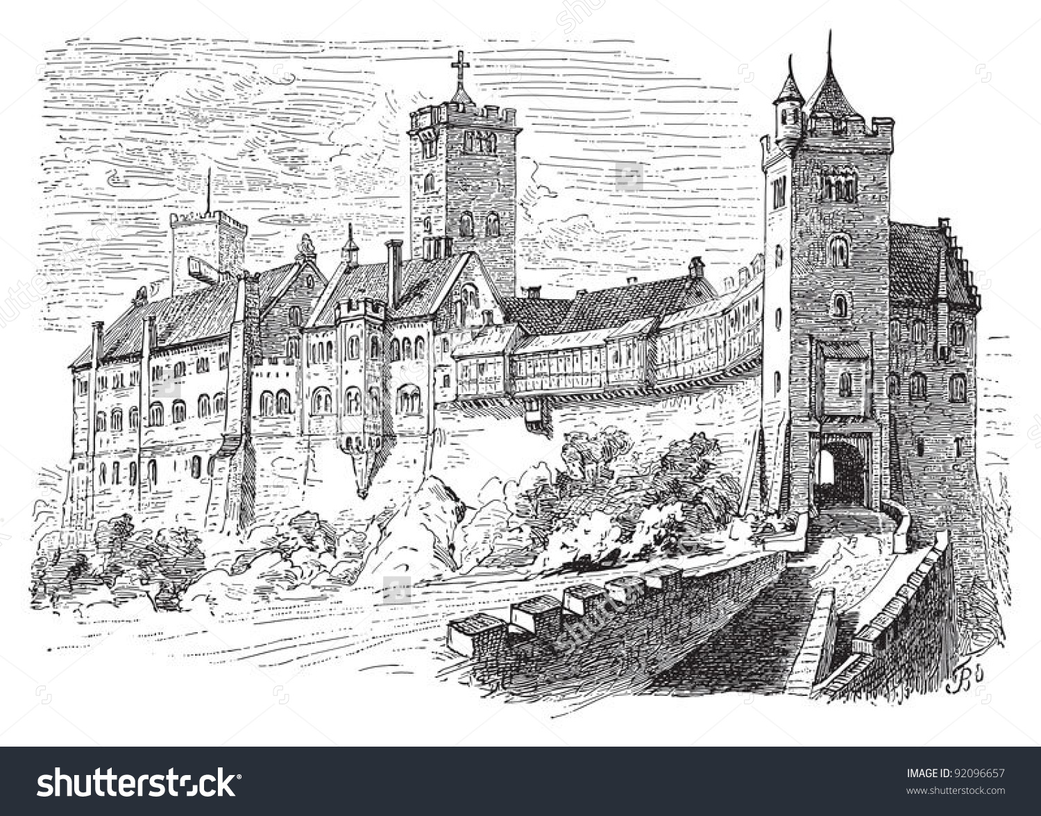 Castle Wartburg Eisenach Germany Vintage Illustration Stock Vector.