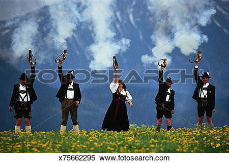 Stock Image of Germany, Bavaria, Eisenberg, locals in lederhosen.