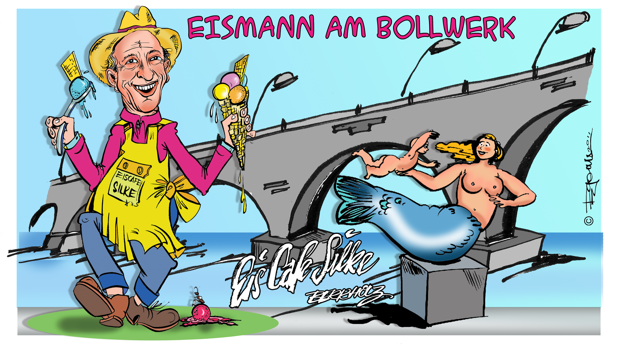 Cartoon Eismann vom Schwedter Bollwerk 1.