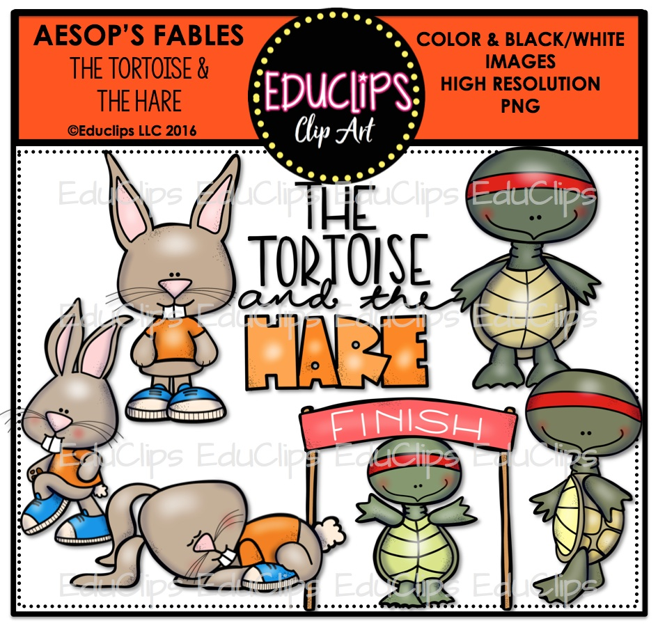 The Tortoise & The Hare (Aesop's Fable) Clip Art Bundle (Color and.