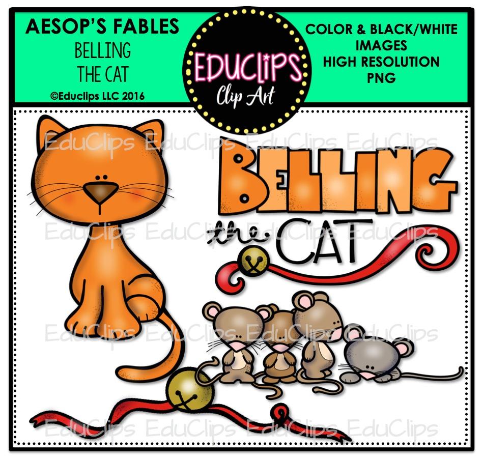 Belling The Cat (Aesop's Fable) Clip Art Bundle (Color and B&W.
