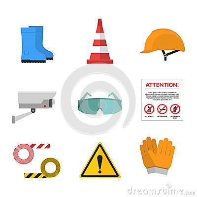 Work Safety Icons Royalty Free Stock Images.