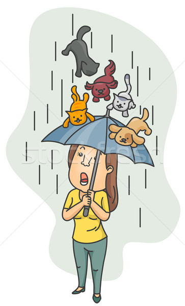 Raining Cats and Dogs vector illustration © lenm (#499024.