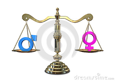 Gold Justice Scale With The Two Different Gender Symbols On Either.