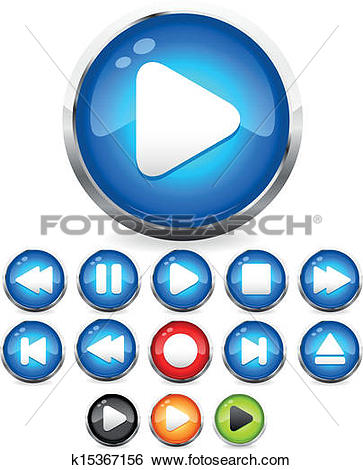 Clip Art of Shiny EPS10 Audio buttons /play button, stop, rec.