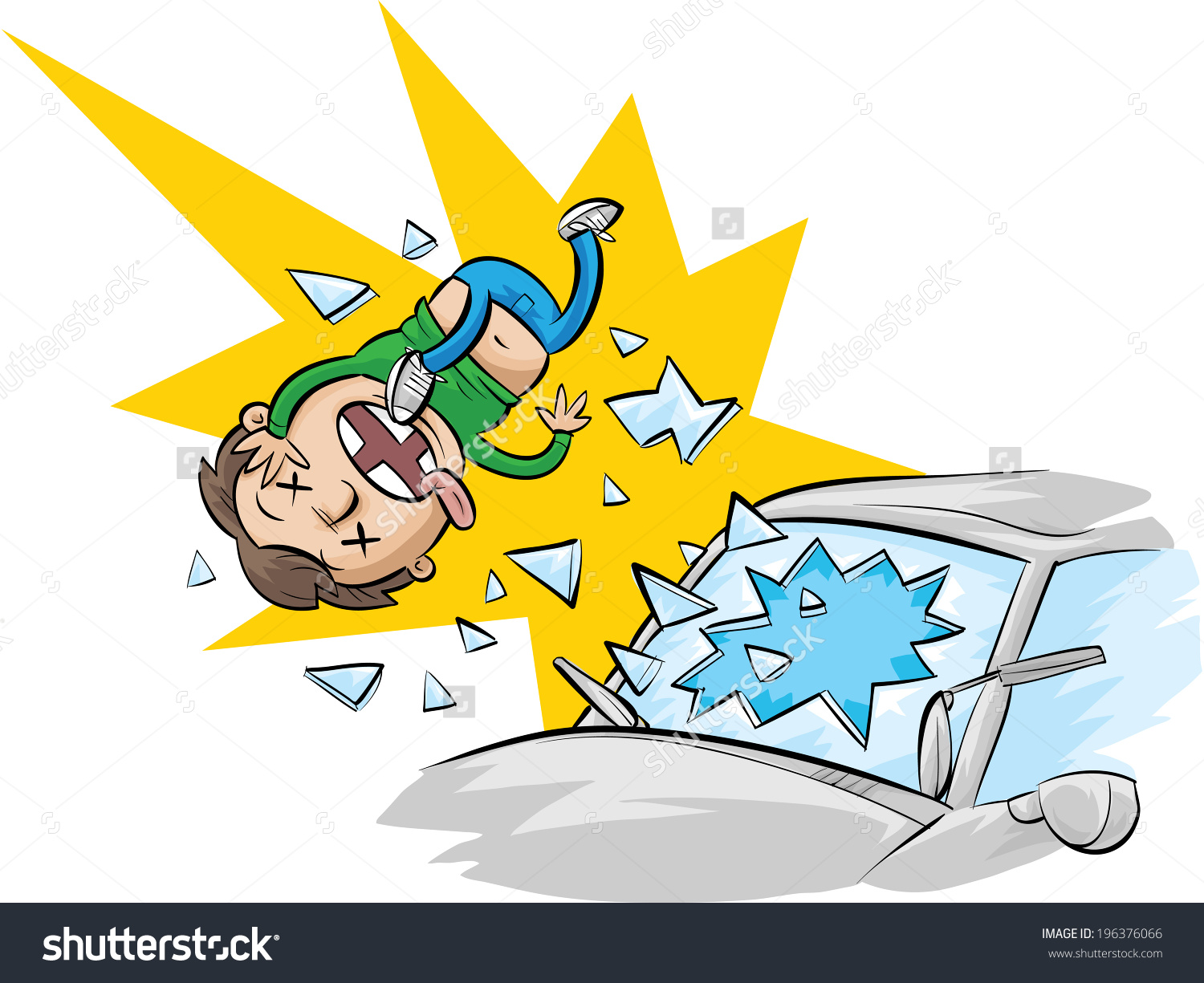 Cartoon Man Ejected Through Windshield Not Stock Vector 196376066.