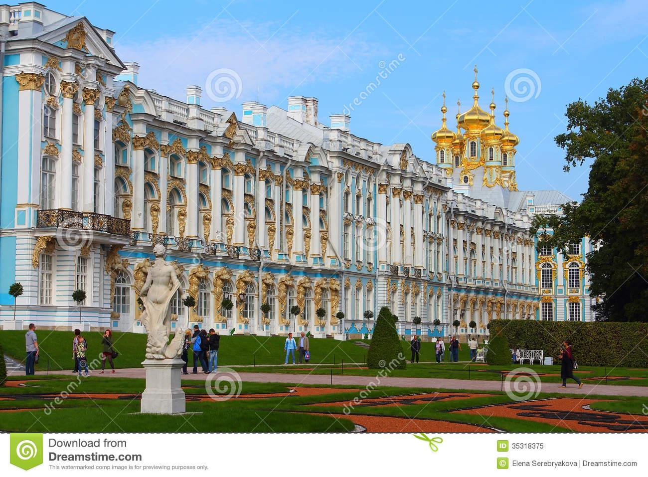 Russia, Tsarskoye Selo. The Catherine Park And Catherine Palace.