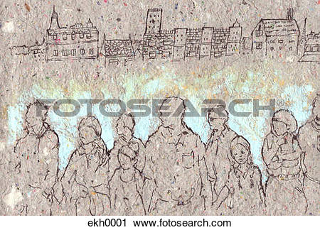 Clipart of Textured drawing of group of people ekh0001.