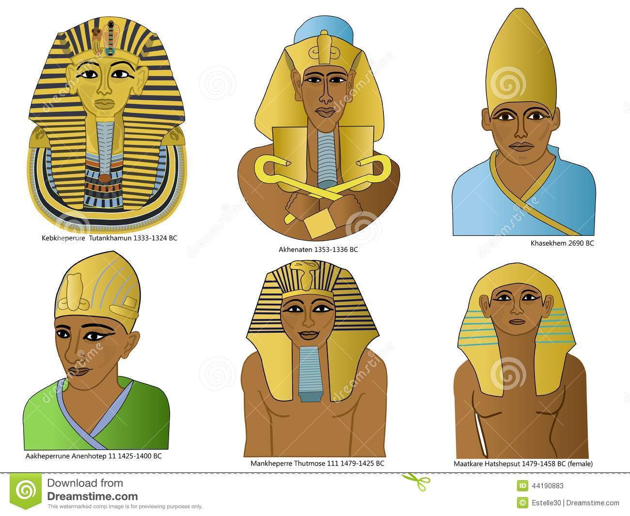 A Set Of Ancient Egyptian Pharaohs Stock Illustration.