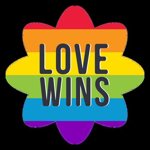 El amor gana el arco iris lgbt pegatina.