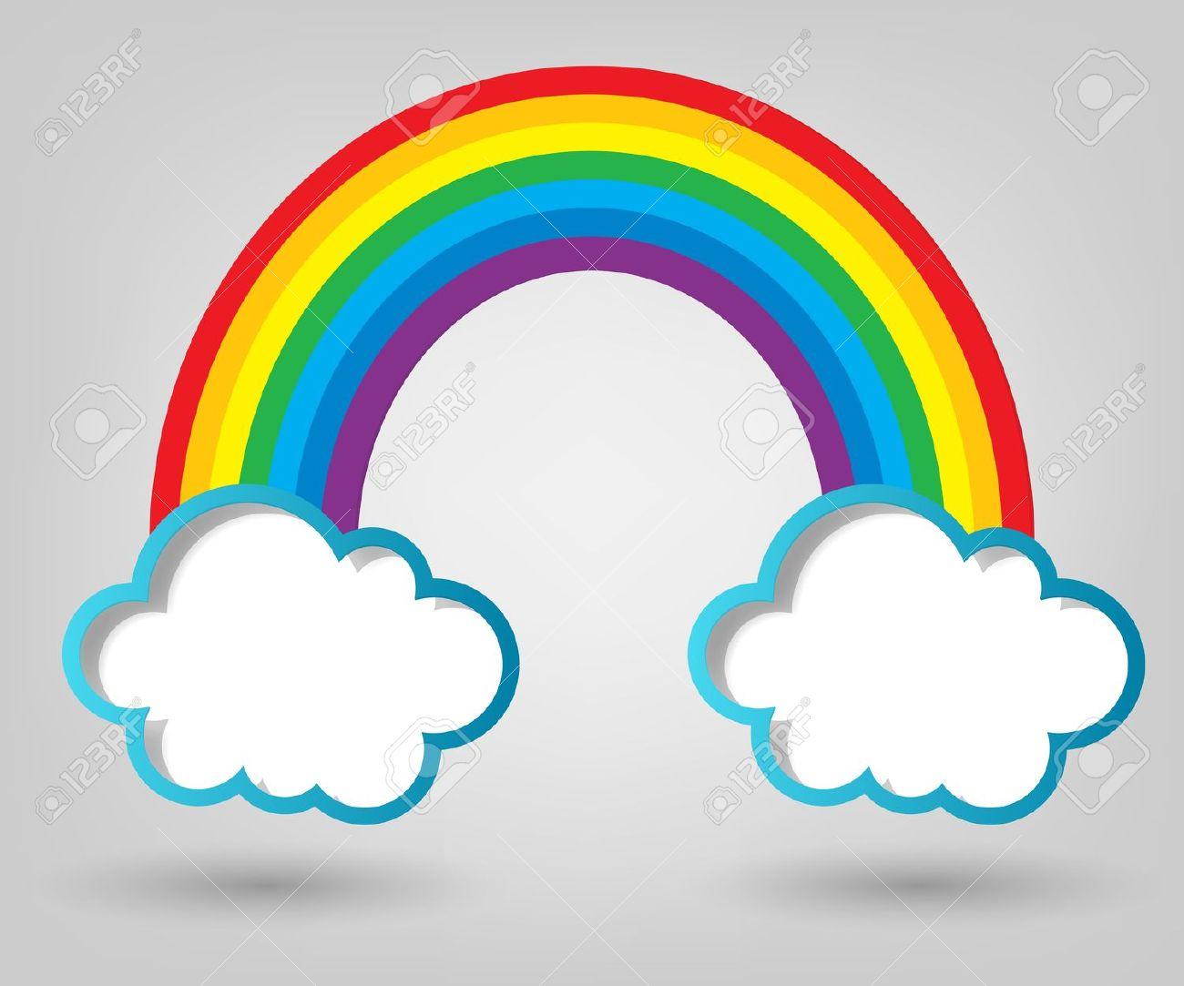 Creativas Nubes Plantilla Del Cartel Y El Arco Iris Ilustraciones.