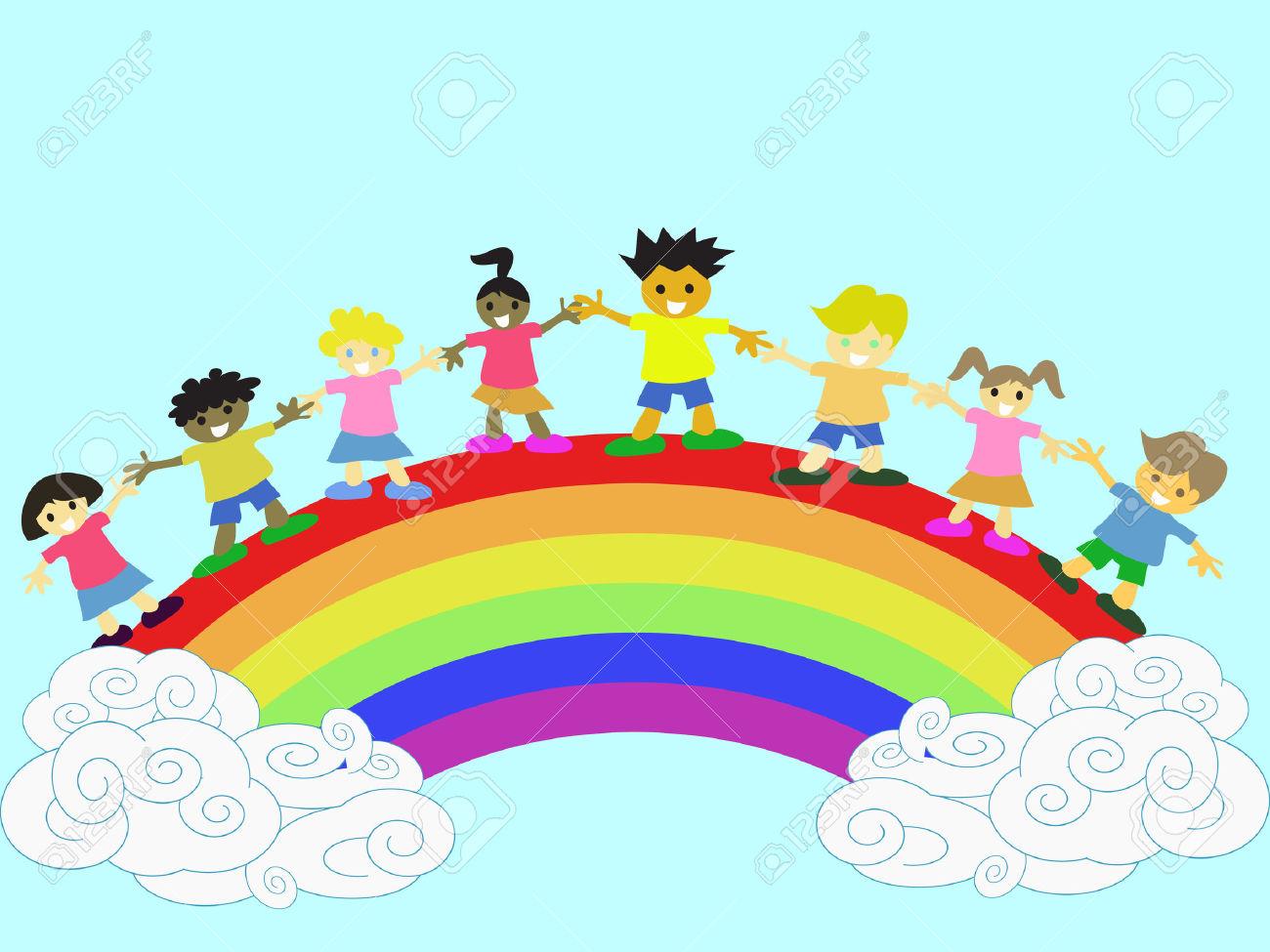 Niños Felices De Mano En Mano En El Arco Iris Ilustraciones.