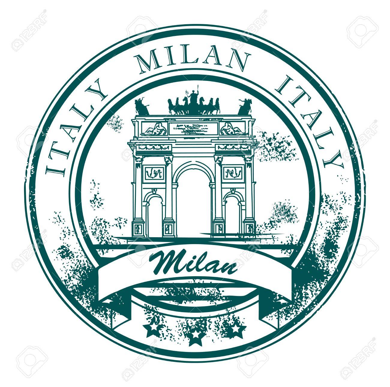 Grunge Sello De Goma Con El Arco De La Paz Y El Milan Es Decir, En.