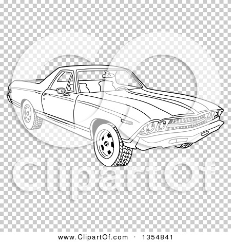 Outline Clipart of a Cartoon Black and White 1969 Cheverolet El.