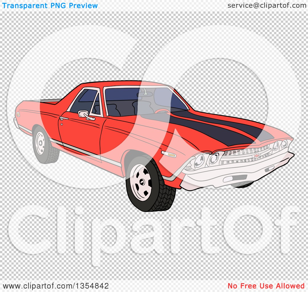 Clipart of a Cartoon Red 1969 Cheverolet El Camino Muscle Car.