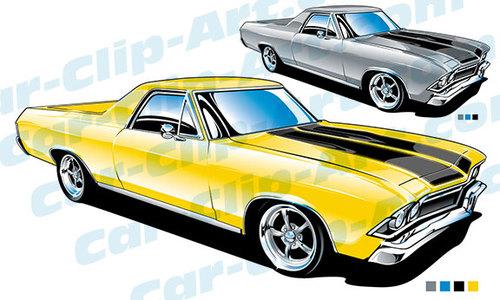 1968 Chevy El Camino Clip Art.