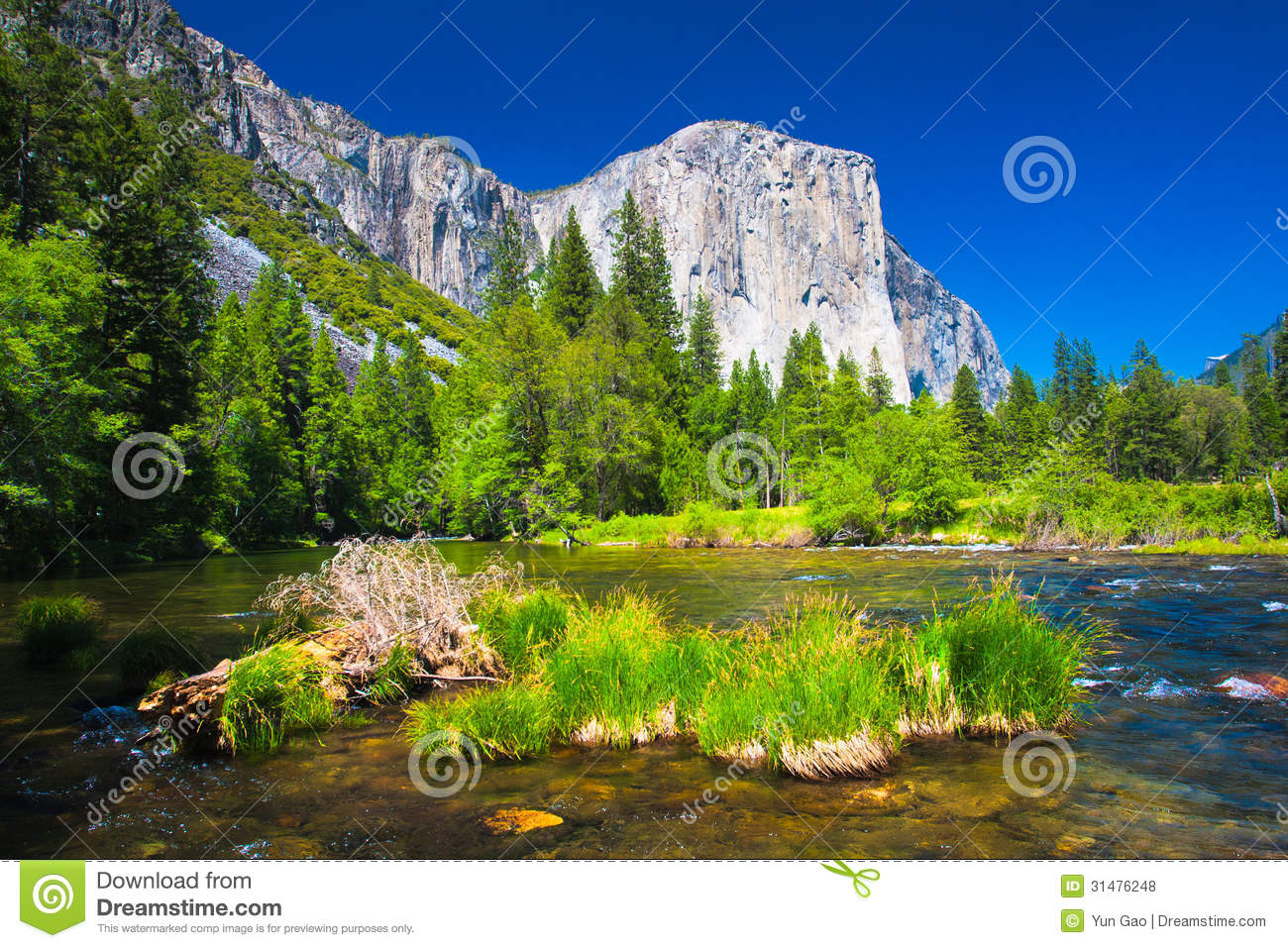 El Capitan Rock And Merced River In Yosemite National Park.
