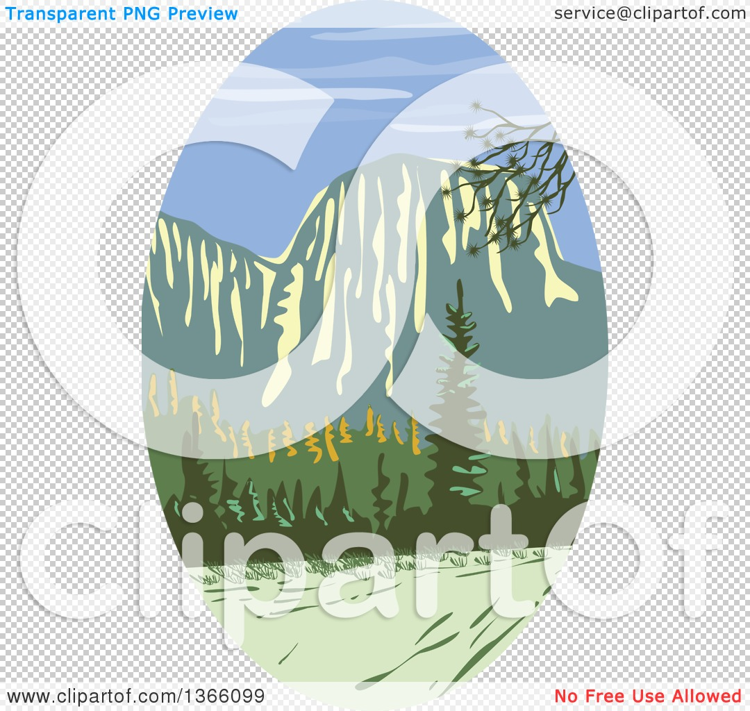 Clipart of a Retro Wpa Styled Landscape of El Capitan in Yosemite.