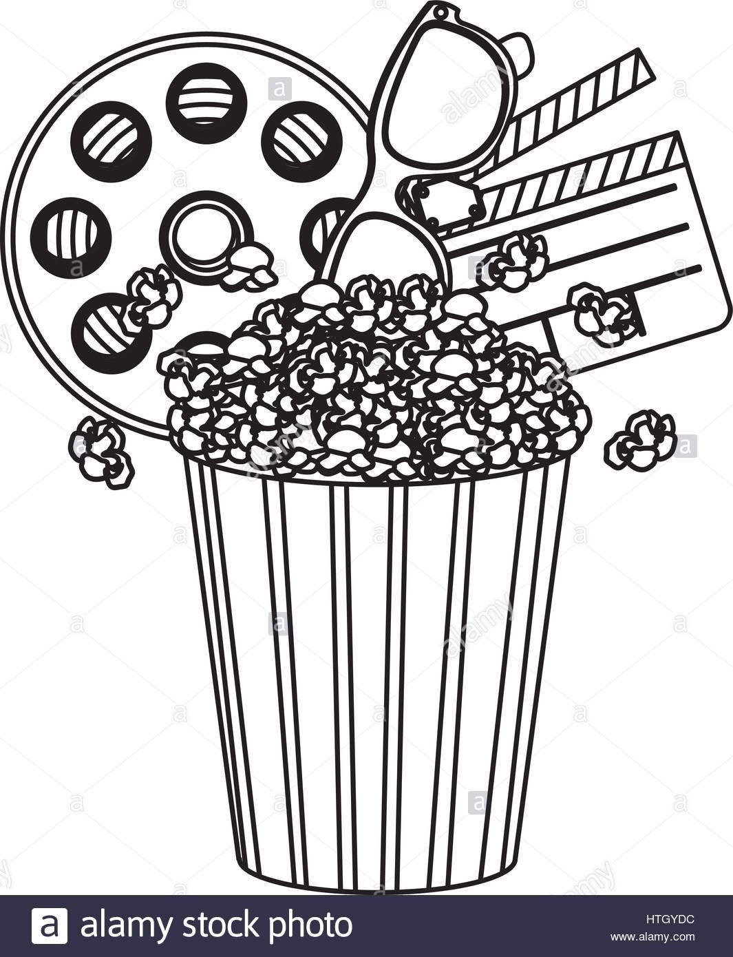 Pop corn, el cine y el icono clipart Ilustración del Vector, Imagen.