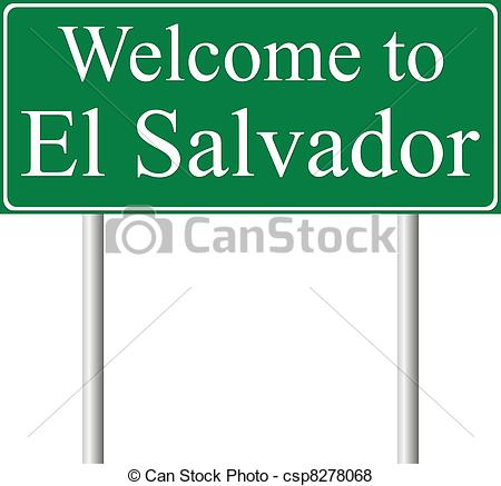 Vector of Welcome to El Salvador, concept road sign isolated on.