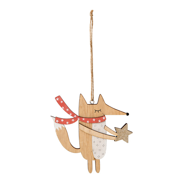 El Corte Inglés Christmas wooden fox hanging decoration with.