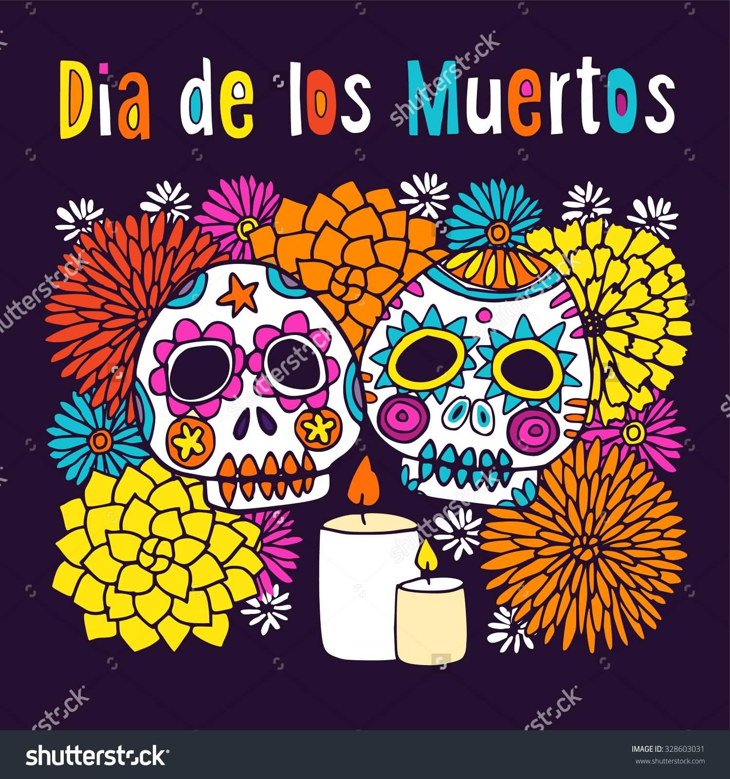 Dia de los Muertos Colorful Sugar Skulls Clipart.