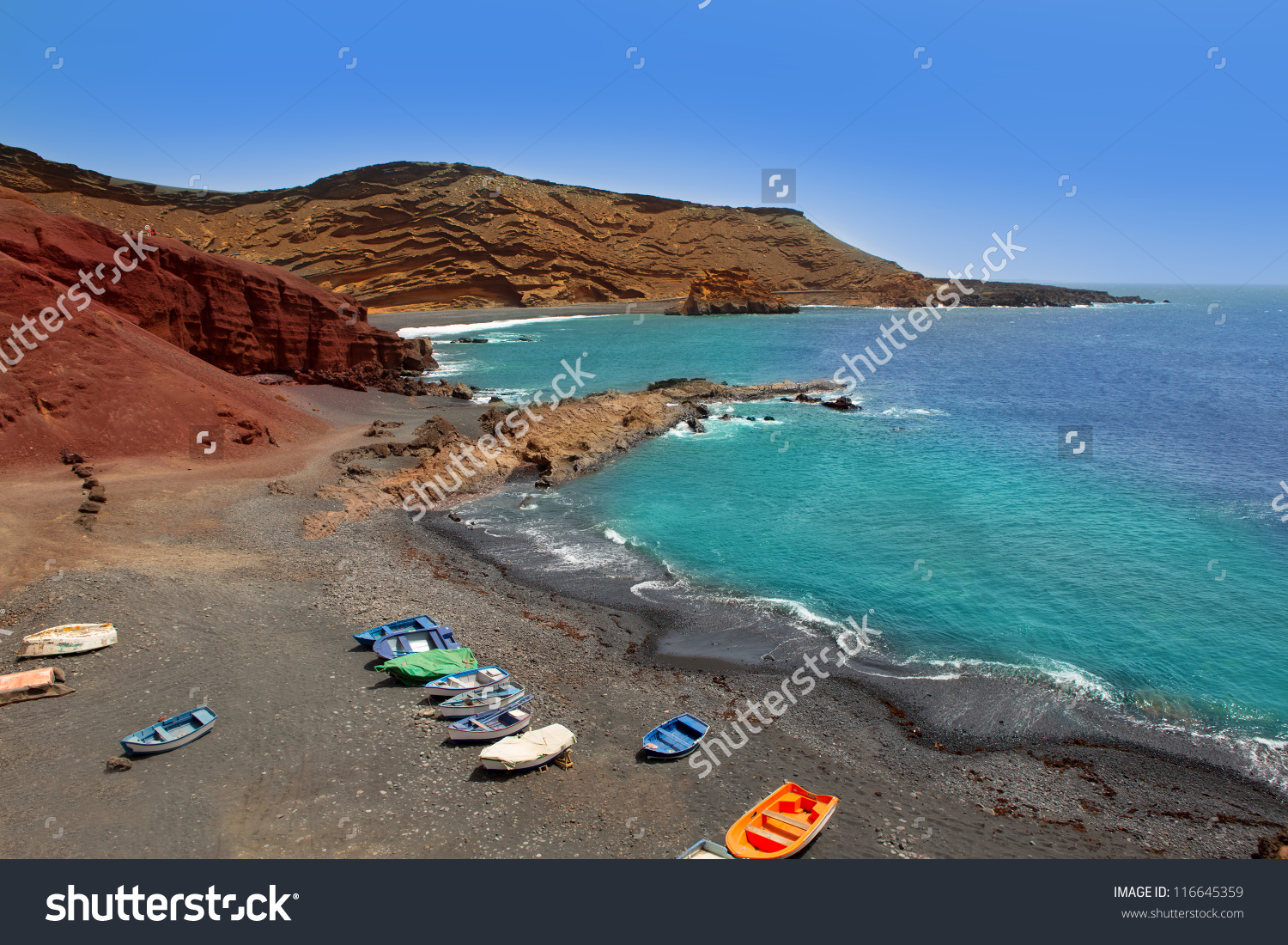 Lanzarote El Golfo Atlantic Ocean Beached Stock Photo 116645359.