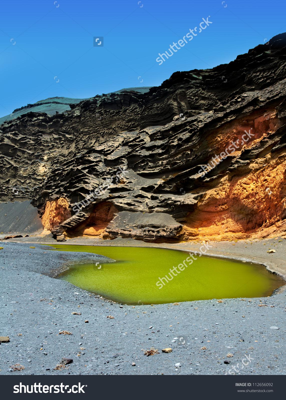 Lanzarote El Golfo Lago De Los Clicos Green Water In Volcanic.