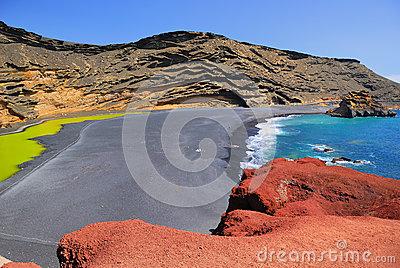 Lanzarote El Golfo Lago De Los Clicos Stock Photography.