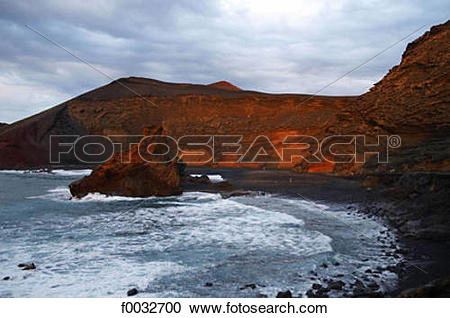 Stock Photography of Spain, Canary islands, Lanzarote, El Golfo.