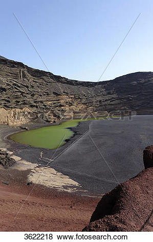 Pictures of Green lagoon, El Golfo, Lanzarote, Canary Islands.