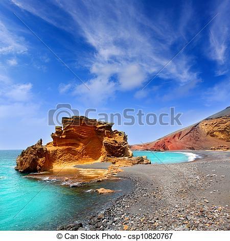 Stock Image of Lanzarote El Golfo Lago de los Clicos.