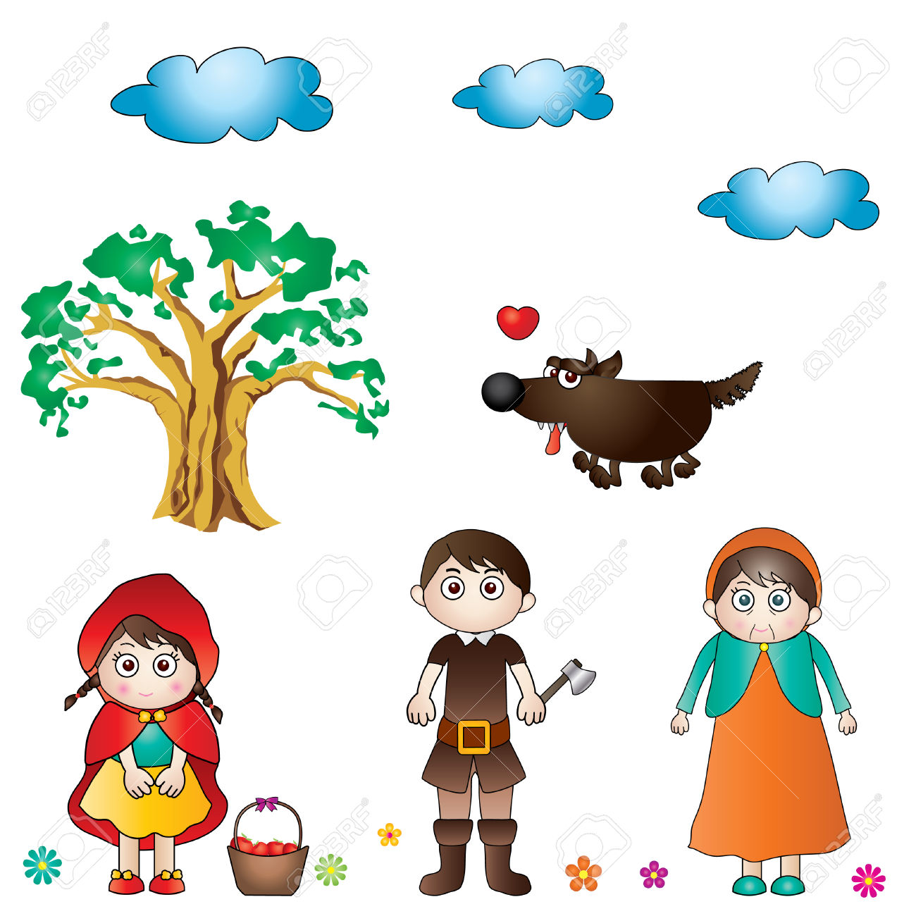 Caperucita Roja Y El Lobo Feroz En El Bosque Ilustraciones.