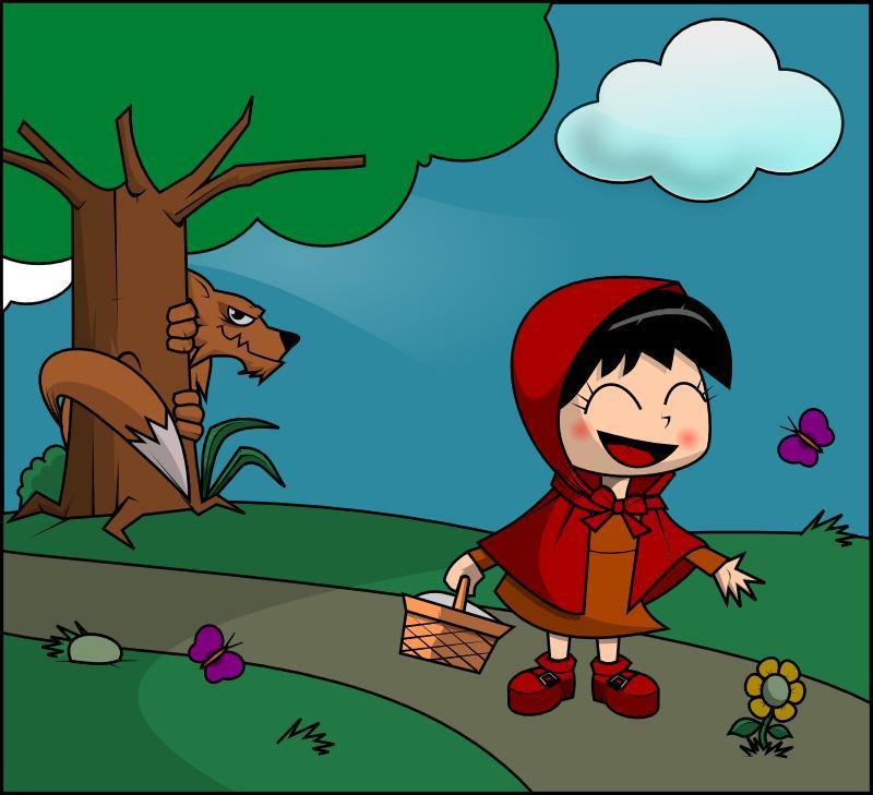Caperucita Roja y el lobo feroz.