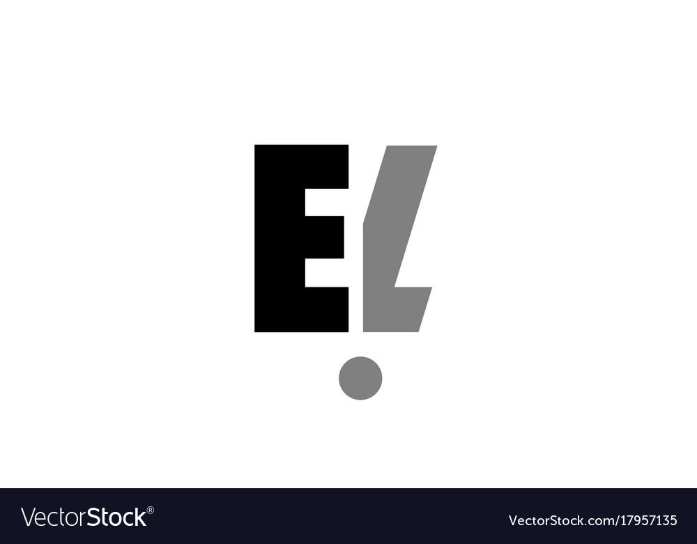 El e l black white grey alphabet letter logo icon.