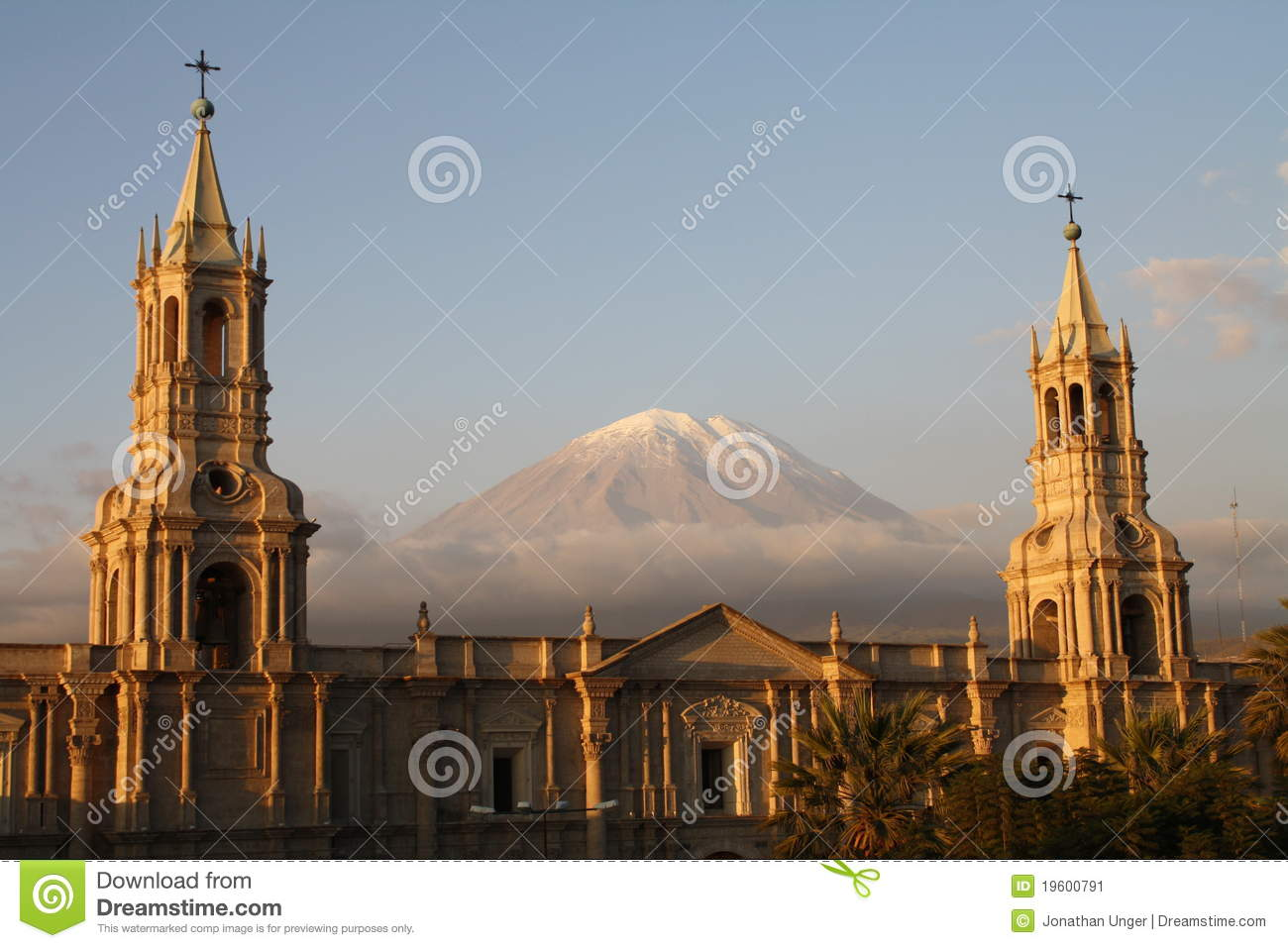 Plaza De Armas With El Misti Volcano, Arequipa Stock Image.