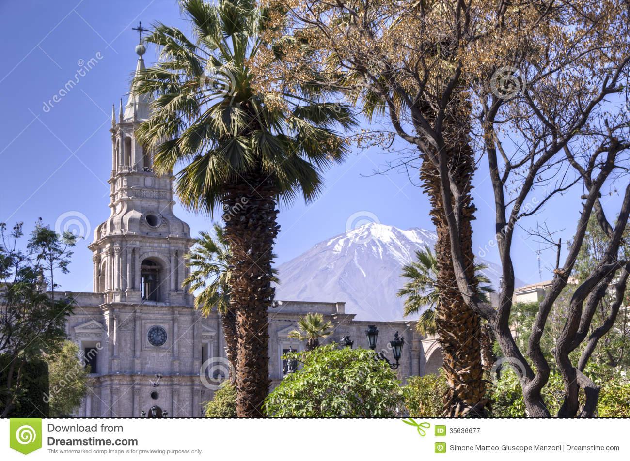 Plaza De Armas With El Misti Volcano, Arequipa Royalty Free Stock.