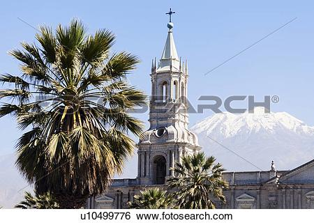 Stock Images of Basilica Cathedral of Arequipa and El Misti.