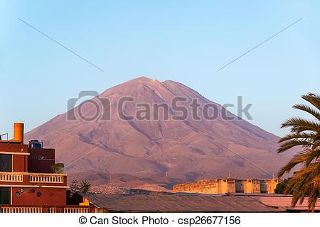 Stock Images of El Misti Volcano Golden Hour.