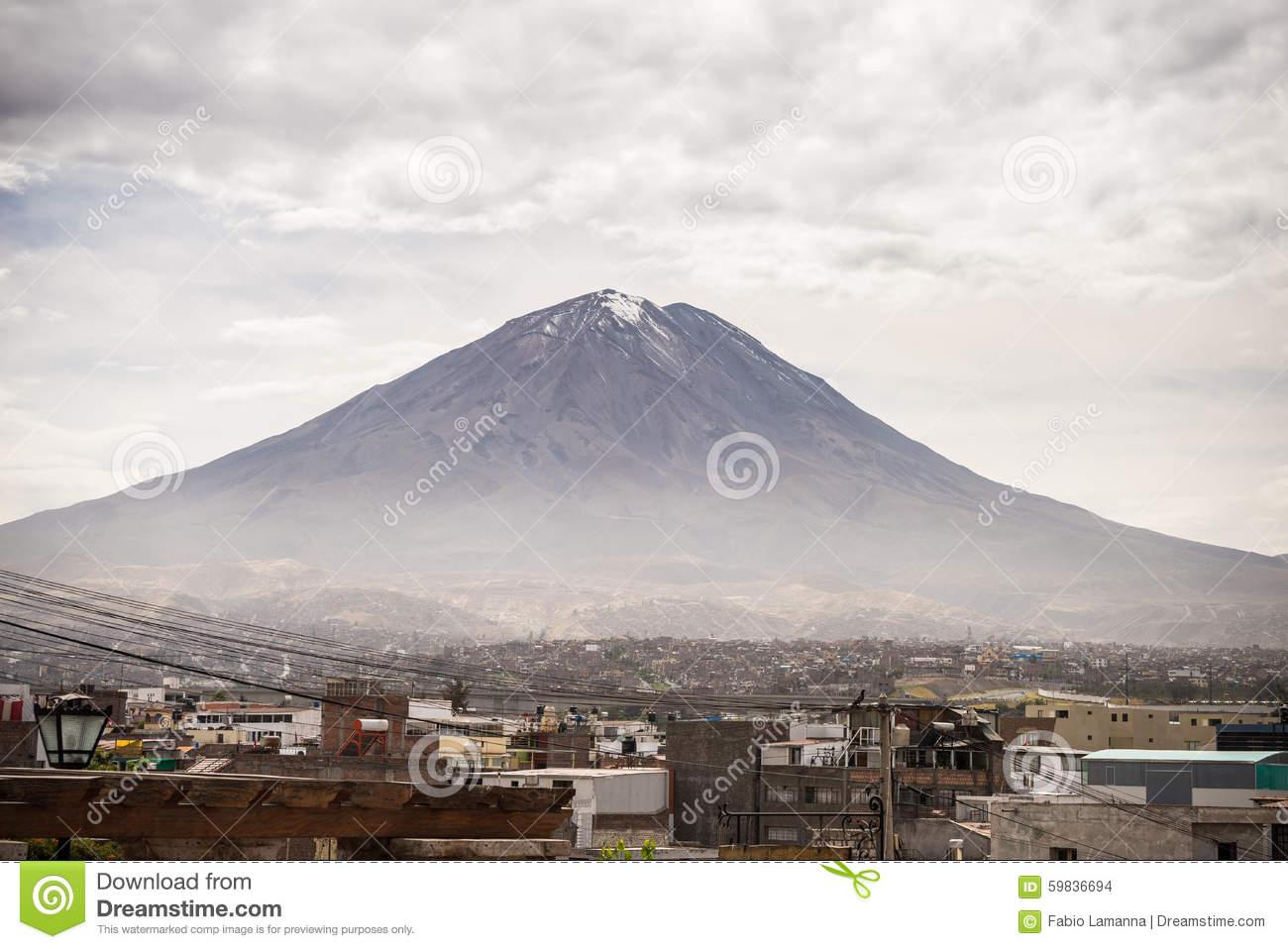 El Misti Volcano In Arequipa, Peru Stock Photo.