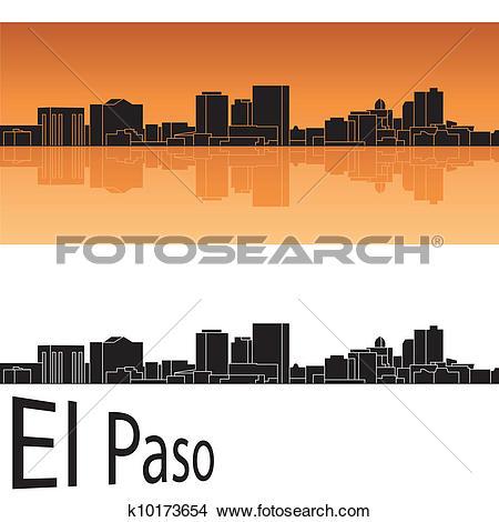 Clipart of El Paso skyline k10173654.