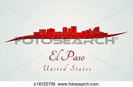 Clipart of El Paso skyline in red k18722795.