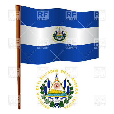 El Salvador flag and coat of arms Stock Vector Image.