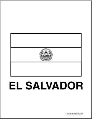 Clip Art: Flags: El Salvador (coloring page) I abcteach.com.