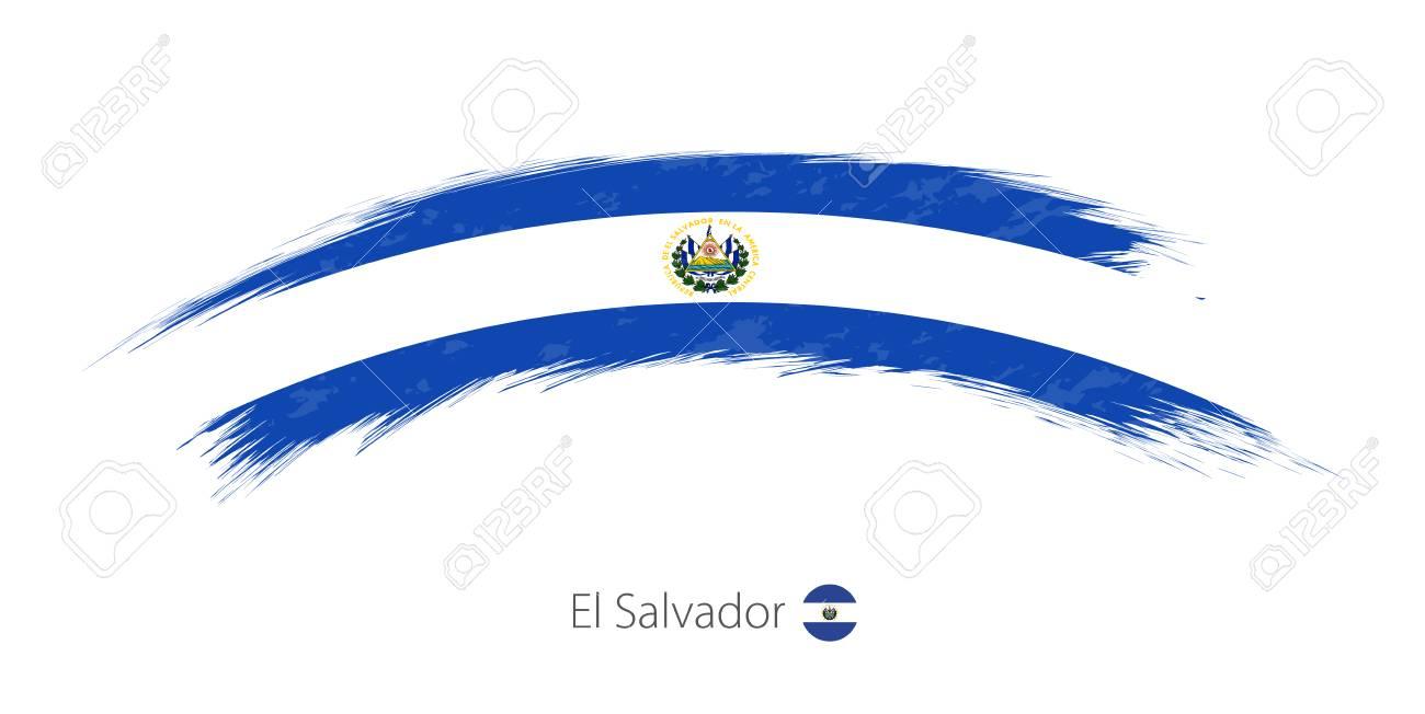 Flag of El Salvador in rounded grunge brush stroke. Vector illustration..