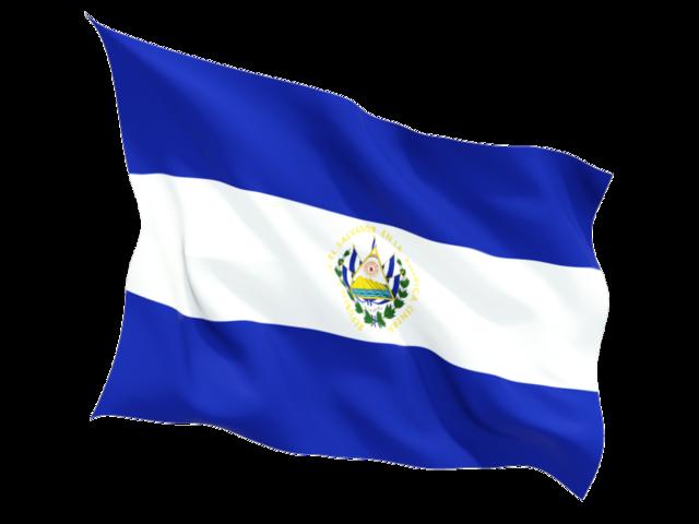 Fluttering flag. Illustration of flag of El Salvador.